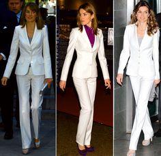 En su segundo día en Marruecos, Letizia estrenó dos looks de Felipe Varela. Un traje pantalón blanco y un abrigo y conjjunto de pantalón y top rosa-arena.
