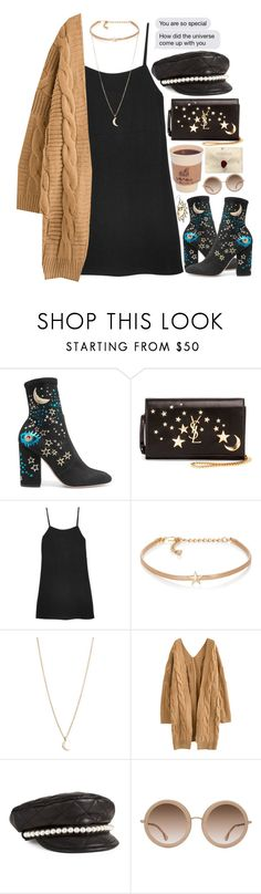 """The Universe conspired to help me find you."" by paper-faces-on-parade ❤ liked on Polyvore featuring Valentino, Yves Saint Laurent, Reformation, Kenneth Jay Lane, Moschino, Alice + Olivia and Topshop"