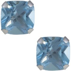 Jewel Exclusive 10K Gold  Cushion Swiss Topaz Stud Earrings ($40) ❤ liked on Polyvore featuring jewelry, earrings, multi, stud earrings, topaz earrings, topaz jewelry, gold topaz jewelry and gold jewellery