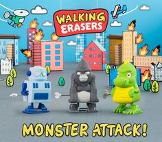 Rubber Wind-Up Monster Erasers That Trample Around and Destroy Your Mistakes