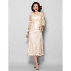 Sheath/Column+Plus+Sizes+/+Petite+Mother+of+the+Bride+Dress+-+Champagne+Tea-length+3/4+Length+Sleeve+Lace+–+USD+$+159.99