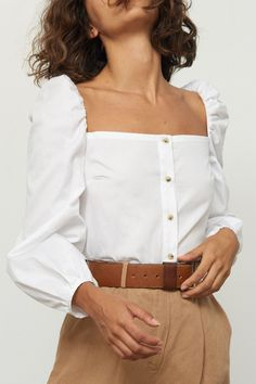 Savon button up top in white. Full long sleeves with puff shoulder. - Savon button up top in white. Full long sleeves with puff shoulder. Runs large; recommend sizing down. Source by ritaderaedt - Fashion 2020, Look Fashion, Fashion Outfits, Womens Fashion, Fashion Design, Fashion Trends, French Fashion, Dance Outfits, Cute Outfits
