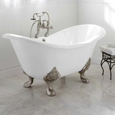 You'll love these small and affordable clawfoot tubs: Arabella Double-Slipper Tub