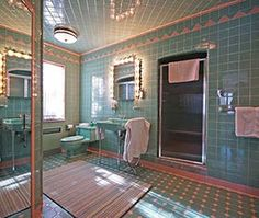 """This 1950 """"time capsule"""" house in Grosse Pointe Park Michigan features SEVEN original vintage pastel bathrooms -- and much more. - April 20 2019 at 1950s Bathroom, Mid Century Bathroom, Vintage Bathrooms, Modern Bathroom, Tiled Bathrooms, Industrial Bathroom, Bathroom Vanities, Pastel Bathroom, Bathroom Colors"""