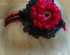 Items similar to Lt Pink & Lilac Layered Kanzashi Flower Hairclip on Etsy