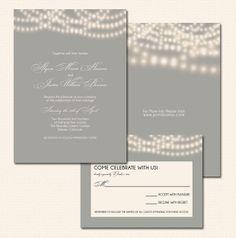 String Lights Wedding Invitations in Gray