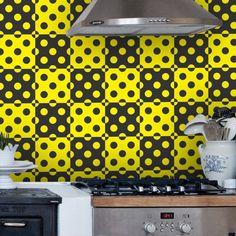 Adesivo de parede Bolinhas Preto e Amarelo