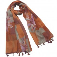 Daisy Flower Overlapping Rectangle Dangling Heart Key Drops Tassels Long Scarf Shawl Sarong