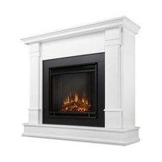 Real Flame 48-In W 4780-Btu White Wood Led Electric Fireplace With The