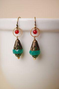 Simple handmade gemstone earrings for women features a Czech glass focal