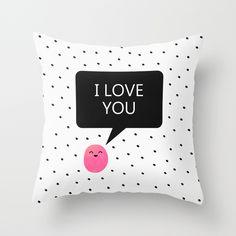 #love #iloveyou #cute #nursery #kidsroom #childrensroom #polkadots #dots #typography #society6 #pillow
