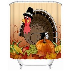 Cartoon Turkey Printing Happy Thanksgiving Day 3D Shower Curtain