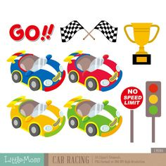 Car Racing Digital Clipart