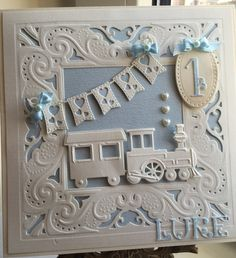Card for my nephew made using diesire create a card die and Marianne train die