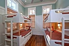 coastal inspired bunk room sleeps four kids