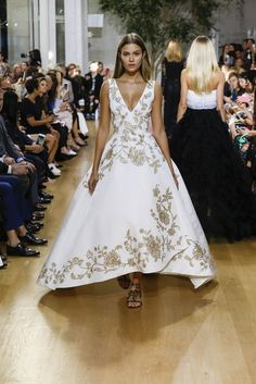 Models at Oscar de la Renta Wore Flats With Their Ball Gowns via @WhoWhatWear