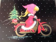 Vintage Holiday Christmas Greeting Card Cutie Girl On Motor Bike Vintage Christmas Images, Old Christmas, Old Fashioned Christmas, Retro Christmas, Vintage Holiday, Christmas Pictures, Christmas Holidays, Christmas Girls, Christmas Goodies