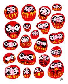 Japanese Daruma Characters Graphic Hoodie by Stray Pencil Workshop - Lena Nayashkova - Unisex Pullover Black - MEDIUM - Front Print - Pullover Iphone Skins, Iphone 8, Cute Stickers, Framed Art Prints, Painted Rocks, Character Art, Illustration Art, Japanese, Artwork