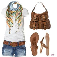 White t-shirt, denim shorts, tan leather belt, tan leather purse, sandals with a colourful scarf