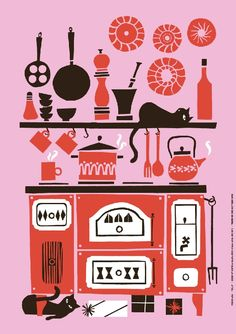 Fabric motif inspiration: Kitchen Illustration