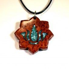 Padma Blossom (Red Amboyna Burl with Turquoise Crushed Shell Inlay) www.dharmawanderlust.com #jewelry #lotus #yoga
