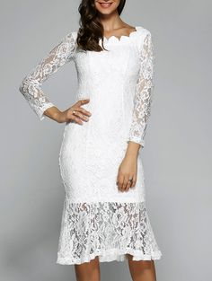 Long Sleeve Fishtail Lace Dress