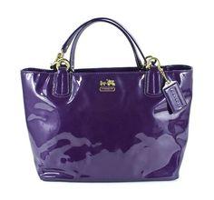 Coach Madison Patent Leather Zip Tote Bag Aubergine Purple