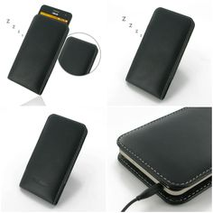 PDair Leather Case for Asus ZenFone 5 - Vertical Pouch Type (Black)