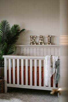 Evolur Crib in Camila Nakagawa Nursery with Marquee Letter Lights Nursery Crib, Nursery Furniture, Nursery Decor, Best Baby Cribs, Room To Grow, New Beds, Project Nursery, Pink Blush Maternity, Beautiful Space