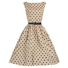 Audrey Hepburn del estilo 1950 s Vintage Retro Polka Dot Rockabilly Pinup 50 s columpio noche vestido de fiesta(China (Mainland))