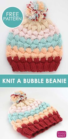 This Bubble Beanie Hat is my new favorite fashion accessory! Get free knitting pattern with photos and video tutorial by Studio Knit. Baby Knitting Patterns, Loom Knitting, Knitting Stitches, Free Knitting, Crochet Patterns, Sweater Patterns, Crochet Beanie, Knit Or Crochet, Knitted Hats