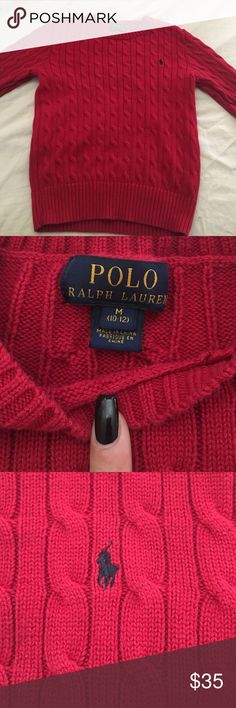 RED POLO sweater Worn maybe twice been tucked away in my closet . No stains no rips . Authentic Polo by Ralph Lauren Sweaters