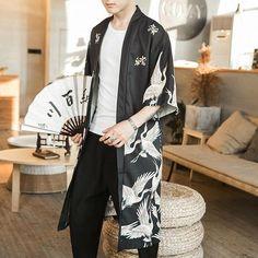 Fashion Hommes Japonais Loose Chemise Robe Kimono Cardigan Sun Protection Hauts Veste