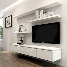 Chic and Modern TV wall mount ideas. - Since many people including your family enjoy watching TV, you need to consider the best place to install it. Here are 15 best TV wall mount ideas for any place including your living room. Tv Unit Decor, Tv Wall Decor, Wall Tv, Bedroom Tv Wall, Tv Wall Shelves, Tv Wall Panel, Shelf For Tv, Bedroom With Tv, Wall Mount Tv Shelf