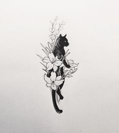 "givememoneyfortattoos: "" Cat in a flower bouquet. Tattoo artist: doy """