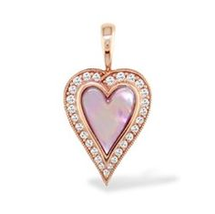 """14K Rose gold pendant with pink Mother of Pearl inlay and 0.23 carats (total weight) of diamonds. Pendant measures approximately 3/4"""" in length.  #jewelry"""
