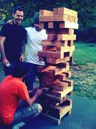 Lawn Jenga - I can totally see my friends playing this at a backyard BBQ ...