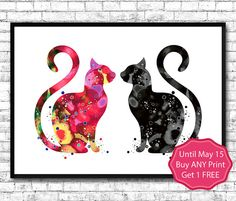 Red and Black Cat's Watercolor Print Fine Art Print by ArtsPrint