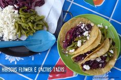 Hibiscus Flower and Cactus Tacos 2 cups dried hibiscus flowers 5 cups water 2 tablespoons olive oil 1/2 onion sliced in rounds 1 teaspoon powdered Ancho Chile Sicilian Sea Salt to taste 1 30 oz jar of pickled cactus strips, drained 1 cup queso fresco, crumbled 8 corn tortillas