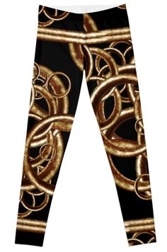 Feel the future with this stretch waistband #alloverprint #leggings with #geometric circles motif modern design in brown and black colors. By #dflcprints and #redbubble