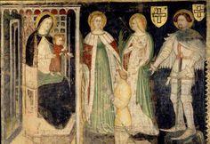 Madonna and Child with  St. Catherine,St. George and Teodorico da Coira by Simone da Corbetta,1382