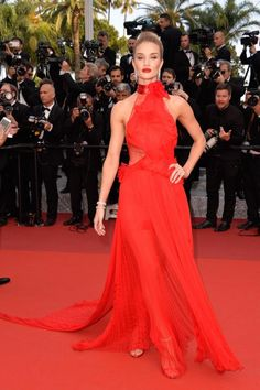 Lady in red! Model Rosie Huntington-Whiteley looked like a true Hollywood star as she hit the red carpet in a beautiful red gown during the 69th annual Cannes Film Festival.