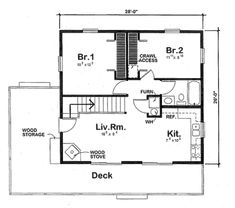 Eliminate loft and bedroom 2 (turn into foyer/entrance)  Ranch Style House Plan - 2 Beds 1 Baths 984 Sq/Ft Plan #312-756 Floor Plan - Main Floor Plan - Houseplans.com