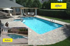 This Backyard Paradise was updated from a basic backyard pool with the addition of a beautiful seating area with a pergola for shade and two waterfalls by All Seasons Pools and Spas.