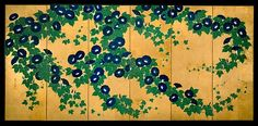 In this vivid display of rich blue and green against a gold-leaf background, Kiitsu concentrated on the proliferation of the blossoms and leaves by omitting any indication of space or context. The exuberant outburst is carefully orchestrated into two movements: the blossoms on the right rise up from the ground, while those on the left cascade down as if supported by an unseen trellis
