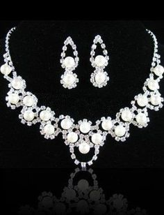 Alloy Pearl Rhinestone Wedding Bridal Jewelry Set - Wedding Jewelry - Accessories