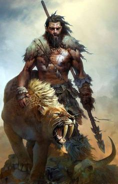 Fur, man, male, breard, spear, Saber tooth, hunter, warrior, barbarian, cave man, ancient man.