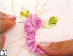 Wonderful Ribbon Embroidery Flowers by Hand Ideas. Enchanting Ribbon Embroidery Flowers by Hand Ideas. Ribbon Embroidery Tutorial, Silk Ribbon Embroidery, Diy Embroidery, Embroidery Patterns, Embroidery Stitches, Ribbon Art, Ribbon Crafts, Ribbon Flower, L'art Du Ruban