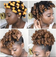 This Defined High Puff Curls tutorial shows you how to achieve defined curls and how to pull them into a stylish high puff for natural hair. (protective hairstyles for natural hair perm rods) Natural Hair Tips, Natural Hair Journey, Natural Curls, Rod Set Natural Hair, Natural Hair Puff, Natural Hair Tutorials, Going Natural, Thick Hair, Long Hair