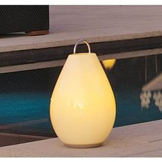 Love this outdoor lighting - portable LED lamp can act as a floor lamp, table lamp, or hang as a suspended light. Awesome and verstaile lamp for entertaining and making the most of our back yard spaces and short summer season. Glows for 6-10 hours without being tethered to an electrical socket!
